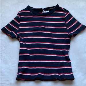 H&M Red White & Blue Striped Ribbed Crop Top